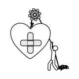 Mostre em silhueta o trabalhador com a polia que guarda o curativo do coração no formulário transversal ilustração do vetor