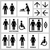 Mostre em silhueta os ícones do vetor do acesso público do homem e da mulher ajustados Imagem de Stock Royalty Free