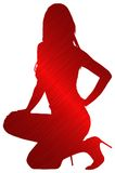 Mostre em silhueta os saltos da menina do esboço   Imagens de Stock Royalty Free