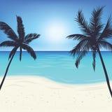Mostre em silhueta a palmeira na ilha sob o fundo do céu azul ilustração do vetor