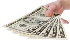 Mostre-me o dinheiro, 5 dólares Fotos de Stock Royalty Free