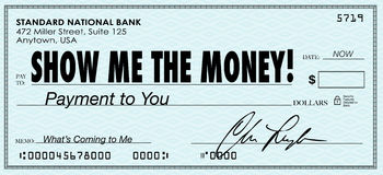 Mostre-me os salários do salário do dia de pagamento da verificação do dinheiro Fotos de Stock