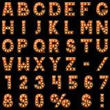 Mostre o alfabeto das lâmpadas Fotografia de Stock