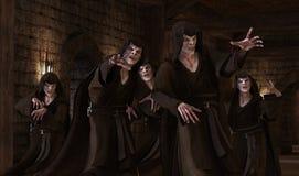 mostri dei vampiri dell'illustrazione 3D su un fondo medievale illustrazione di stock