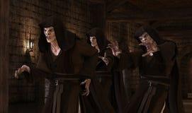 mostri dei vampiri dell'illustrazione 3D su un fondo medievale illustrazione vettoriale