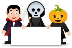 Mostri di Halloween con l'insegna in bianco [1] Fotografie Stock