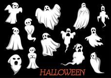 Mostri e fantasmi volanti bianchi di Halloween Immagini Stock Libere da Diritti