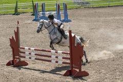 Mostri il cavallo ed il cavaliere di salto Fotografie Stock