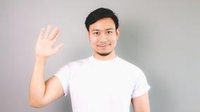 Mostri il segno della mano di ciao ed il arrivederci Immagini Stock