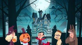 Mostri svegli felici del fumetto della cartolina d'auguri del partito di orrore della decorazione di festa dell'insegna di Hallow illustrazione di stock