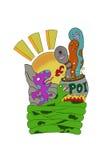 Mostri: vermi in vaso, in drago ed in serpente contro il sole, tiraggio digitale, isolato su terra bianca Immagine Stock
