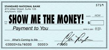 Mostrimi gli stipendi dei guadagni di giorno di paga del controllo dei soldi Fotografie Stock