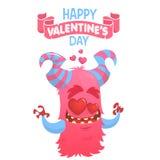Mostro cornuto rosa del fumetto nell'amore Mostro del biglietto di S. Valentino del san Illustrazione di vettore Fotografia Stock Libera da Diritti