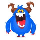 Mostro del blu del fumetto Mostro lanuginoso di Halloween del fumetto di vettore Carattere divertente di folletto o del troll illustrazione vettoriale