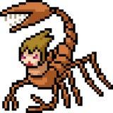 Mostro dello scorpione di arte del pixel di vettore illustrazione di stock