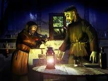 Mostro di Frankenstein ed uomo cieco Fotografia Stock Libera da Diritti