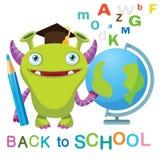 Mostro divertente con il globo ed il testo di nuovo alla scuola su un fondo bianco Mascotte del mostro del fumetto Immagine Stock