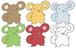 Mostro divertente felice di tiraggio della mano dell'insieme di colore di scarabocchio del fumetto dello scoiattolo della stampa illustrazione di stock