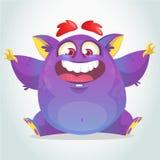 Mostro felice del fumetto Seduta porpora grassa del mostro di vettore di Halloween Immagini Stock