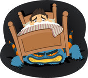 Mostro nell'ambito dell'illustrazione del fumetto del letto Fotografie Stock Libere da Diritti