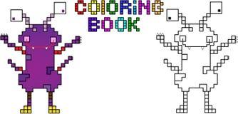 Mostro quarto del pixel del libro da colorare Illustrazione di Stock