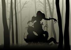 Mostro spaventoso in legno scuro illustrazione di stock