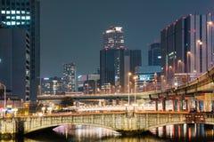 Mosty i budynki przy nocą obraz royalty free