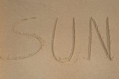Mot écrit et x27 ; SUN& x27 ; Images stock