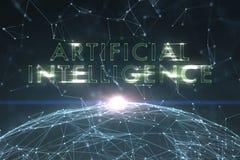 Mot abstrait d'intelligence artificielle sur le fond de réseau illustration libre de droits