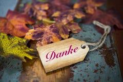 Mot allemand 'Danke' (merci) sur le bois avec des feuilles Images stock