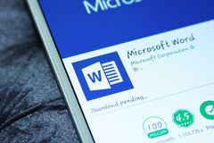 Mot APP mobile de Microsoft Office Photographie stock