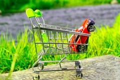 Mot bakgrunden av ljust - grönt saftigt gräs är en shoppingvagn i som röd bil två Royaltyfria Foton