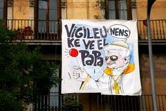 mot barcelona popeprotest Royaltyfria Foton