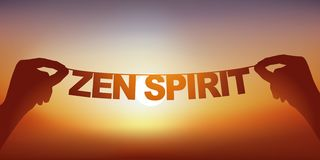 Concept of tranquility with hands holding a banner on which are written the words Zen spirit. royalty free stock image