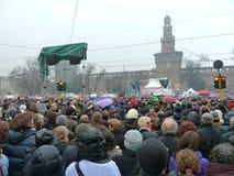 mot berlusconi samlar protesten till kvinnor Royaltyfria Bilder