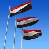 mot blåa egypt flags sky tre Arkivfoto