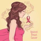 mot bröstcancerbaner härlig flicka med det rosa bandet Fotografering för Bildbyråer