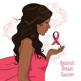 mot bröstcancerbaner härlig flicka med det rosa bandet Arkivbilder