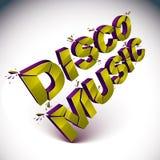 Mot brisé dimensionnel de musique de disco de vecteur, musi contemporain illustration stock