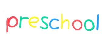 mot d'école maternelle de pâte à modeler Images stock