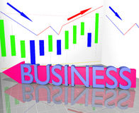Mot d'affaires sur la flèche et le tableau de statistique Images libres de droits