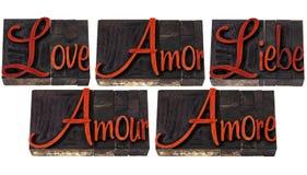 Mot d'amour dans 5 langages Photos libres de droits