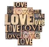 Mot d'amour dans le type en bois Photo libre de droits