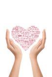 Mot d'amour de Mutil sur des mains Photo stock