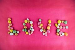 Mot d'amour des bonbons Photographie stock