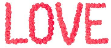 Mot d'amour des pétales de rose Photographie stock libre de droits