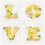 Mot d'amour fait de fleurs jaunes Image libre de droits