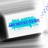 Mot d'architecture sur les avions de recouvrement téléphone noir de récepteur de concept de transmission Photos libres de droits