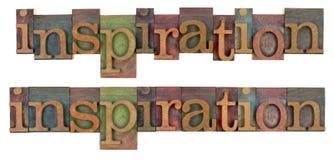 Mot d'inspiration dans le type en bois d'impression typographique Photographie stock libre de droits