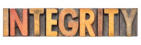 Mot d'intégrité dans le type en bois de vintage photos stock